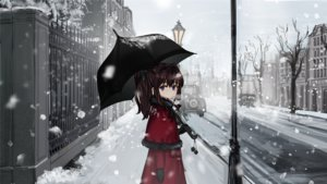 Rating: Safe Score: 33 Tags: blue_eyes brown_hair building cape city gloves long_hair original ponytail ruisento snow tree umbrella User: otaku_emmy