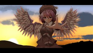 Rating: Safe Score: 64 Tags: animal_ears blush brown_eyes clouds hat hiro_(pqtks113) mystia_lorelei pink_hair short_hair sky sunset touhou wings User: opai