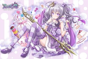 Rating: Safe Score: 25 Tags: akino_coto bow cake candy crown dress food gray_hair ice_cream logo lolita_fashion long_hair original pointed_ears purple_eyes tail thighhighs twintails weapon wings User: BattlequeenYume
