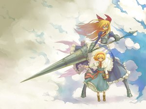 Rating: Safe Score: 74 Tags: alice_margatroid armor blonde_hair bow clouds dress huu00 shanghai_doll touhou weapon User: opai