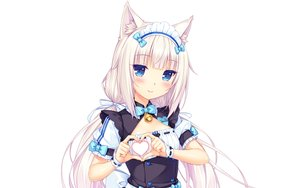 Rating: Safe Score: 77 Tags: animal_ears aqua_eyes bell blush bow catgirl flat_chest headdress heart long_hair maid nekopara photoshop sayori twintails uniform vanilla_(sayori) waitress white white_hair wristwear User: RyuZU