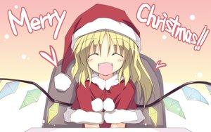 Rating: Safe Score: 35 Tags: blonde_hair christmas flandre_scarlet hat santa_costume santa_hat satoukibi snow touhou vampire wings User: Oyashiro-sama