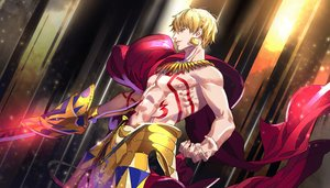 Rating: Safe Score: 27 Tags: all_male armor blonde_hair cape fate/grand_order fate_(series) gilgamesh male necklace red_eyes short_hair sword tattoo tenobe topless weapon User: otaku_emmy