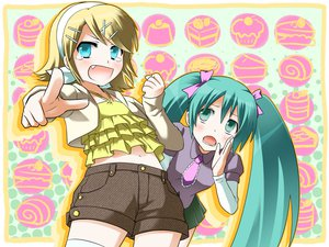 Rating: Safe Score: 17 Tags: hatsune_miku kagamine_rin vocaloid User: HawthorneKitty