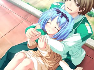 Rating: Safe Score: 15 Tags: blue_hair blush bow game_cg hug kujou_yuuka magus_tale school_uniform short_hair tail tenmaso whirlpool User: Oyashiro-sama