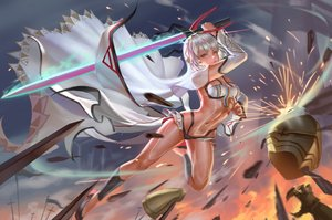 Rating: Safe Score: 45 Tags: armor attila_(fate/grand_order) dark_skin fate/grand_order fate_(series) jpeg_artifacts navel red_eyes short_hair sword tagme_(artist) weapon white_hair User: BattlequeenYume
