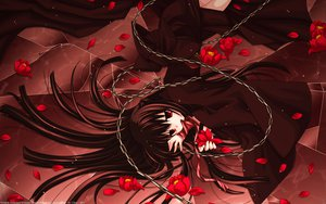 Rating: Questionable Score: 91 Tags: brown_hair chain flowers long_hair petals red_eyes ribbons sakurazawa_izumi watermark User: gnarf1975
