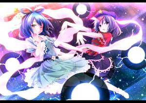 Rating: Safe Score: 52 Tags: ayase_midori blue_hair bow dress kaku_seiga miyako_yoshika touhou wink User: opai