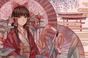 Rating: Safe Score: 60 Tags: animal bird bow brown_hair flowers hakurei_reimu japanese_clothes kimono long_hair miko red_eyes torii touhou zicai_tang User: luckyluna