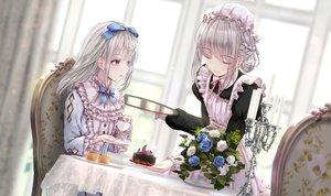 Rating: Safe Score: 48 Tags: 2girls apple228 cake drink flowers food gray_hair lolita_fashion maid original purple_eyes rose User: BattlequeenYume