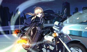 Rating: Safe Score: 41 Tags: blonde_hair blue_eyes city fate/stay_night gloves long_hair motorcycle night ponytail saber suit sword tie vmax-ver weapon User: Flandre93