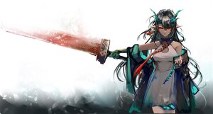 Rating: Safe Score: 62 Tags: arknights black_hair dress dusk_(arknights) horns jpeg_artifacts long_hair pointed_ears red_eyes sketch sword tagme_(artist) weapon User: Maboroshi
