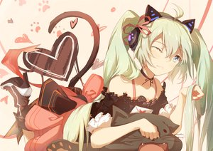 Rating: Safe Score: 62 Tags: animal_ears blue_eyes boots bow green_hair hatsune_miku tail taka_(0taka) vocaloid wink User: FormX
