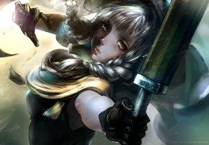 Rating: Safe Score: 136 Tags: blonde_hair bow_(weapon) braids cape dragon's_crown elf_(dragon's_crown) gloves umika_sayoji watermark weapon yellow_eyes User: Flandre93