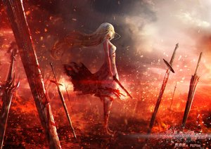 Rating: Safe Score: 113 Tags: blonde_hair blood fufu long_hair original sword watermark weapon User: FormX