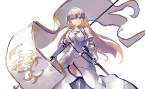 Rating: Safe Score: 49 Tags: armor blonde_hair blue_eyes blush fate/grand_order fate_(series) jeanne_d'arc_(fate) long_hair same_(sendai623) sword weapon white User: BattlequeenYume