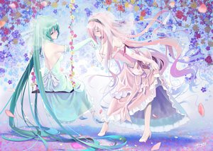 Rating: Safe Score: 152 Tags: 2girls aqua_eyes aqua_hair cleavage elbow_gloves flowers hatsune_miku long_hair megurine_luka okingjo petals pink_hair twintails vocaloid wedding_dress User: FormX