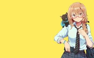 Rating: Safe Score: 53 Tags: animal brown_eyes brown_hair cat glasses kazenoko original phone school_uniform short_hair skirt tie wink yellow User: RyuZU