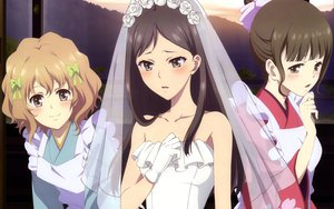 Rating: Questionable Score: 56 Tags: hanasaku_iroha matsumae_ohana oshimizu_nako tsurugi_minko wedding_dress User: meccrain