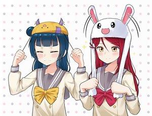Rating: Safe Score: 13 Tags: 2girls animal_ears blue_hair blush bow bunny_ears ceph_(greatyazawa1819) di_gi_charat hat horns long_hair love_live!_school_idol_project love_live!_sunshine!! red_hair sakurauchi_riko seifuku tsushima_yoshiko yellow_eyes User: otaku_emmy