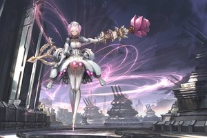 Rating: Safe Score: 71 Tags: armor braids breasts cameltoe cleavage clouds dress headdress len_brew original panties pink_eyes pink_hair robot scenic short_hair sky staff techgirl thighhighs underwear upskirt watermark User: BattlequeenYume