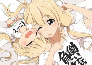 Rating: Safe Score: 114 Tags: blonde_hair blush brown_eyes doll futaba_anzu hitotukinanoka idolmaster idolmaster_cinderella_girls long_hair twintails wink User: otaku_emmy