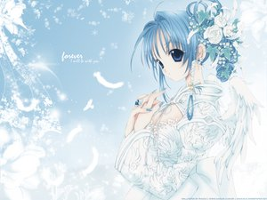 Rating: Safe Score: 27 Tags: animal bird blue_eyes blue_hair dress feathers flowers nanase_aoi petals User: Oyashiro-sama