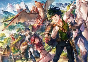 Rating: Safe Score: 45 Tags: all_might animal armor bakugou_katsuki bicolored_eyes blue_hair blush boku_no_hero_academia book brown_hair building cape clouds dragon dress glasses gloves green_eyes green_hair group hat horns horse iida_tenya kirishima_eijirou male midoriya_izuku necklace red_eyes red_hair scorpion5050 short_hair sky sword todoroki_shouto uraraka_ochako weapon witch witch_hat User: RyuZU