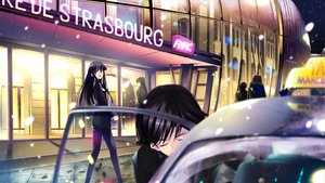 Rating: Safe Score: 30 Tags: black_hair game_cg long_hair night pantyhose short_hair snow touma_kazusa white_album_2 User: Maboroshi