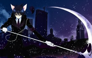 Rating: Safe Score: 111 Tags: animal_ears blue_hair building city peach-pit scythe short_hair shugo_chara snow tsukiyomi_ikuto weapon User: Zloan