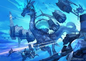 Rating: Safe Score: 48 Tags: blue clouds dragon mecha original polychromatic sky takayama_toshiaki watermark User: otaku_emmy