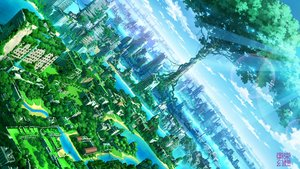 Rating: Safe Score: 39 Tags: building city clouds landscape nobody original ruins scenic sky tokyogenso tree water watermark User: RyuZU