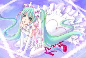 Rating: Safe Score: 33 Tags: aqua_hair dress flowers hatsune_miku twintails vocaloid User: HawthorneKitty