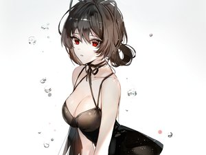 Rating: Safe Score: 62 Tags: breasts brown_hair choker cleavage cropped dress gradient long_hair naru_(ul) original red_eyes ribbons waifu2x water white User: otaku_emmy