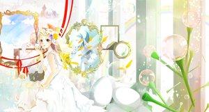 Rating: Safe Score: 54 Tags: ahira_yuzu blue_eyes dress flowers mirror original white_hair User: Zolxys
