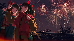 Rating: Safe Score: 63 Tags: 2girls aliasing black_hair brown_eyes camera candy fang fireworks food fruit horns night original phone scarf zhuang_yao User: Dreista