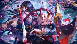 Rating: Safe Score: 26 Tags: black_hair cherry_blossoms dearrose demon horns japanese_clothes katana loli long_hair male merc_storia petals purple_eyes red_eyes short_hair sword twintails weapon white_hair User: RyuZU