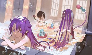Rating: Questionable Score: 59 Tags: bath bathtub breasts bubbles horns loli long_hair nude original pointed_ears purple_hair rubber_duck short_hair tail tim_loechner User: BattlequeenYume