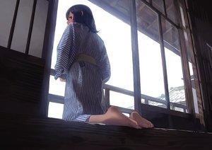Rating: Safe Score: 54 Tags: barefoot blue_hair japanese_clothes morifumi original purple_eyes short_hair yukata User: RyuZU