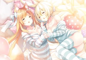 Rating: Questionable Score: 30 Tags: 2girls animal_ears ass blonde_hair blush breasts bunny bunny_ears bunnygirl cleavage foxgirl long_hair no_bra nopan orange_hair original p19 pajamas sleeping tail thighhighs twintails User: RyuZU