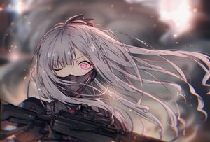 Rating: Safe Score: 119 Tags: ak12_(girls_frontline) anthropomorphism close girls_frontline gray_hair gun long_hair mask pink_eyes pollity weapon wink User: otaku_emmy