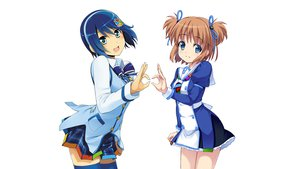 Rating: Safe Score: 97 Tags: 2girls 7 blue_eyes blue_hair brown_hair madobe_nanami madobe_yuu os-tan skirt windows User: feiyuelisky
