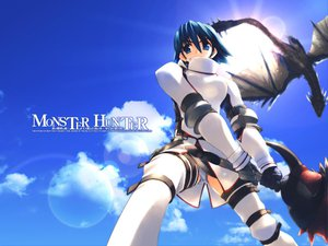 Rating: Safe Score: 51 Tags: clouds dragon khezu monster_hunter rathalos_(armor) sky weapon User: Oyashiro-sama