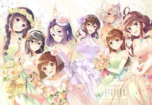 Rating: Safe Score: 9 Tags: ashigara_(kancolle) blush braids breasts choker cleavage dress elbow_gloves flowers glasses group haruna_(kancolle) kantai_collection kitakami_(kancolle) komi_zumiko kongou_(kancolle) musashi_(kancolle) necklace ooi_(kancolle) rose tatsuta_(kancolle) wedding_attire yukikaze_(kancolle) User: Flandre93