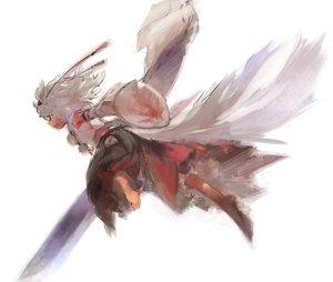 Rating: Safe Score: 86 Tags: animal_ears barefoot fang gray_hair hat inubashiri_momiji matsuda_(matsukichi) red_eyes sarashi short_hair sword tail touhou underwear weapon wolfgirl User: PAIIS