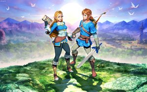 Rating: Safe Score: 37 Tags: animal bird blonde_hair blue_eyes boots bow_(weapon) braids brown_hair building clouds computer genzoman gloves grass link_(zelda) long_hair male pointed_ears ponytail princess_zelda scenic signed sky sword the_legend_of_zelda weapon User: otaku_emmy