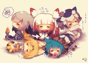 Rating: Safe Score: 36 Tags: animal animal_ears anthropomorphism bird blonde_hair blue_hair blush catgirl chibi crested_ibis_(kemono_friends) gray_hair group hoodie kemono_friends muuran northern_white-faced_owl_(kemono_friends) serval shoebill_(kemono_friends) short_hair signed sleeping tail translation_request tsuchinoko_(kemono_friends) white_hair User: otaku_emmy