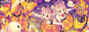 Rating: Safe Score: 40 Tags: 2girls animal bat blonde_hair halloween ikari_(aor3507) original pumpkin twins watermark User: BattlequeenYume