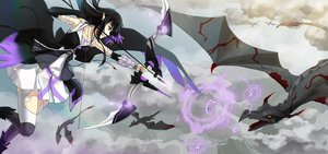 Rating: Safe Score: 68 Tags: black_hair bow_(weapon) cross_akiha dragon long_hair pixiv_fantasia purple_eyes thighhighs weapon wings User: STORM