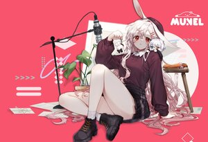 Rating: Safe Score: 46 Tags: animal_ears bicolored_eyes bunny_ears chibi gray_hair hat long_hair microphone munel original paper pink red_eyes third-party_edit watermark User: BattlequeenYume